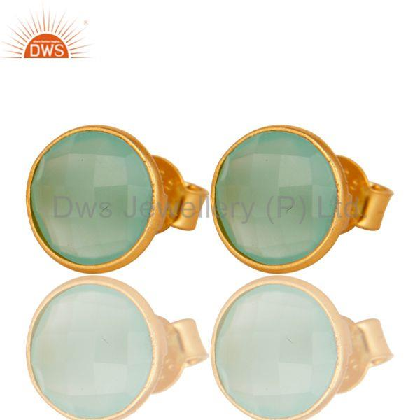 Dyed Green Chalcedony Faceted Gemstone Stud Earrings In 14K Gold On Silver