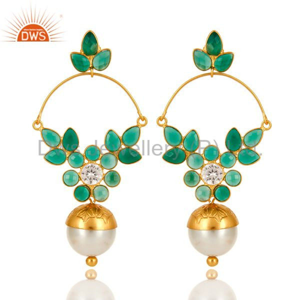 14K Gold Plated Sterling Silver Pearl And Green Onyx Designer Earrings With CZ