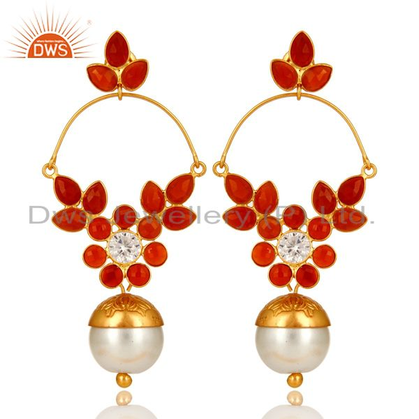 14K Yellow Gold Plated Sterling Silver Pearl & Red Onyx Dangle Earrings With CZ