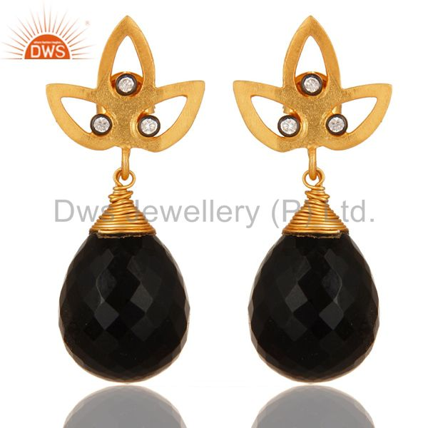 24K Yellow Gold Plated Sterling Silver Black Onyx Gemstone Drop Earrings With CZ
