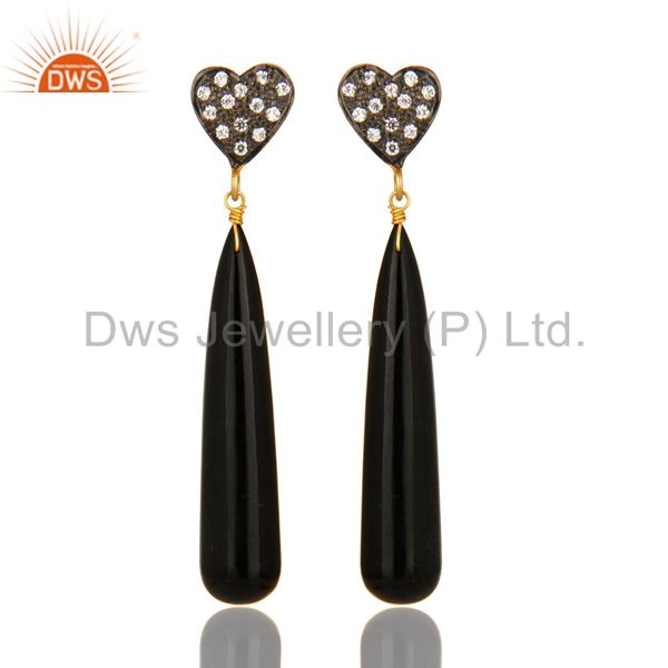 14K Yellow Gold Plated Sterling Silver CZ & Black Onyx Smooth Teardrop Earrings
