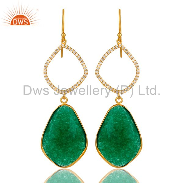 18K Yellow Gold Plated Sterling Silver Green Onyx Bezel Dangle Earrings With CZ