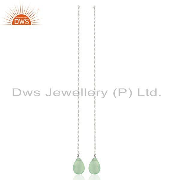 Aqua Chalcedony Dangle Sui Dhaga Pattern White Rhodium Wholesale Silver Earring