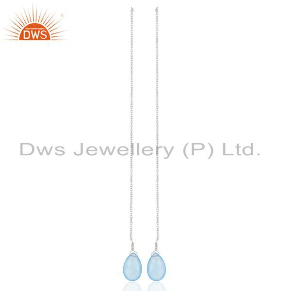 Blue Chalcedony Dangle Sui Dhaga Pattern White Rhodium Wholesale Silver Earring