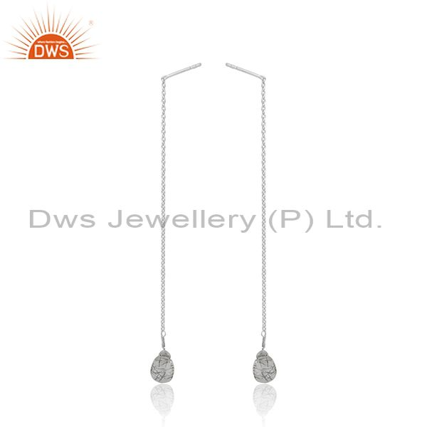 Black Rutile Gemstone Fine Sterling Silver Chain Earrings Wholesale