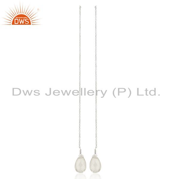 Crystal Dangle Sui Dhaga Pattern White Rhodium Plated Wholesale Silver Earring