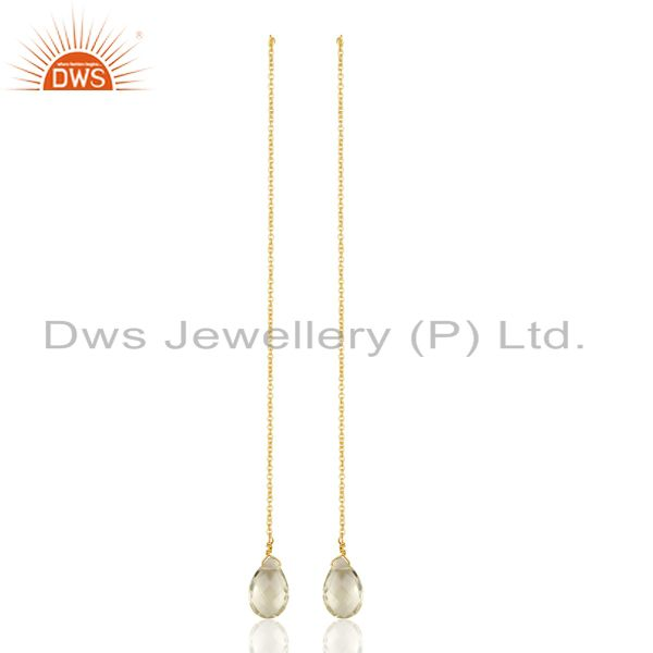 Lemon Topaz Long Chain Thread Earring Gold Plated Sterling Silver Jewelry