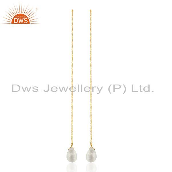 White Moonstone Long Chain Thread Earring Gold Plated Sterling Silver Jewelry