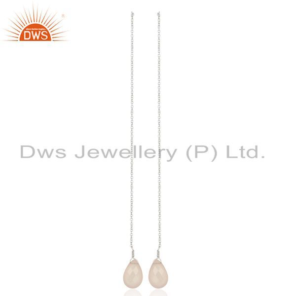Rose Chalcedony Dangle Sui Dhaga Pattern White Rhodium Wholesale Silver Earring