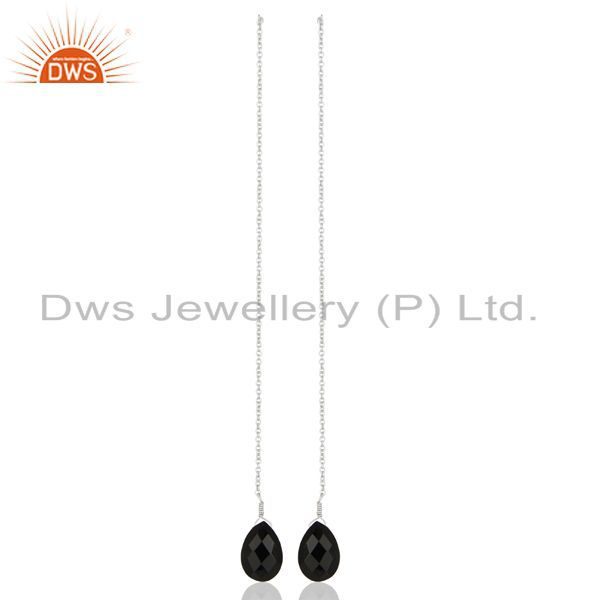 BlackOnyx Dangle Sui Dhaga Pattern White Rhodium Wholesale Silver Earring