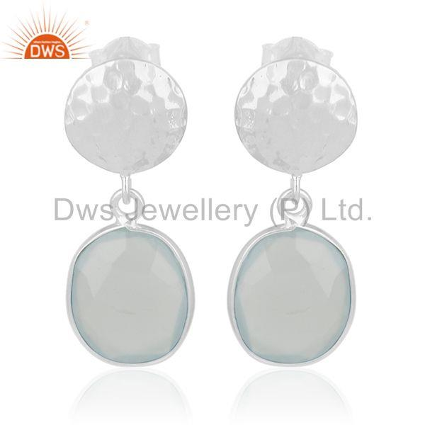 Indian Handmade 92.5 Silver Chalcedony Gemstone Drop Earrings Manufacturer india