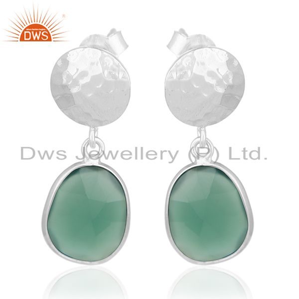 Green Onyx Gemstone Silver Earrings Private Label Jewelry Manufacturer India