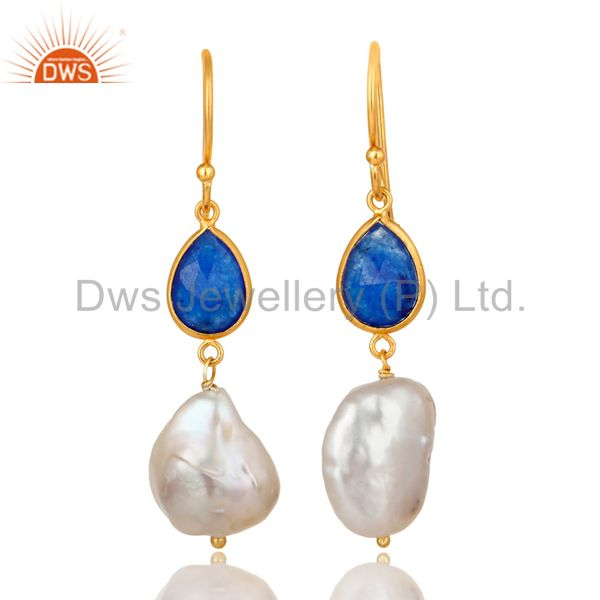 18K Yellow Gold Plated Sterling Silver Blue Aventurine And Pearl Dangle Earrings