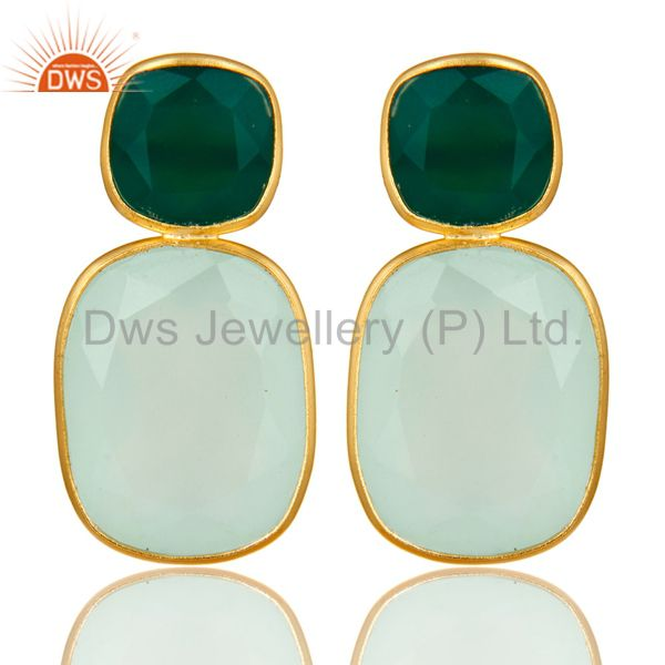 18K Yellow Gold Plated Sterling Silver Green Onyx And Chalcedony Dangle Earrings