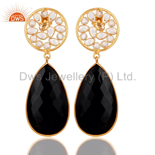 18k Gold PLated Black Onyx and CZ Sterling Silver Handmade Stud Drop Earring