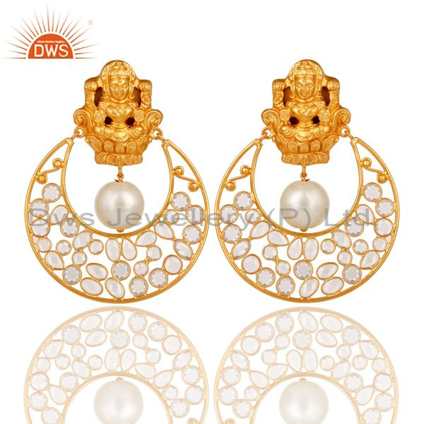 18K Gold Plated Pearl and White CZ Sterling Silver Chand Bali Studs Earrings