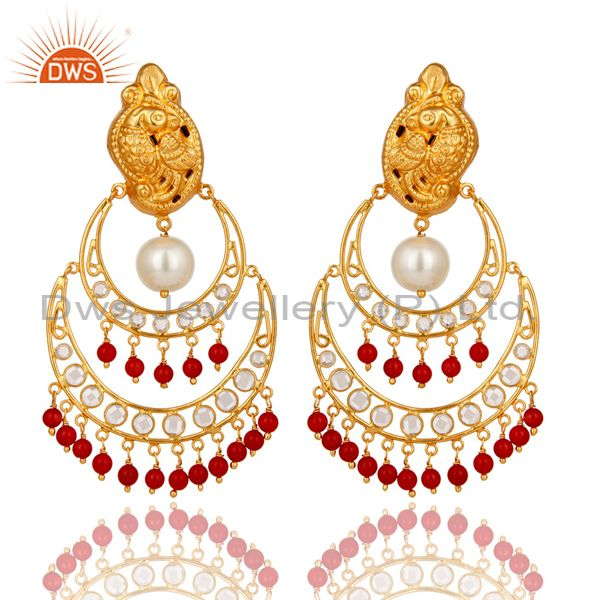 White Pearl, Coral and CZ 18K Gold Plated Sterling Silver Temple Earring Stud