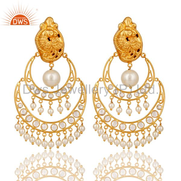 White Pearl and CZ 18K Gold Plated Sterling Silver Temple Earring Stud