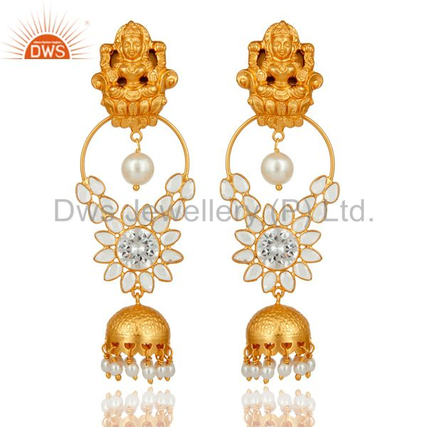 18K Gold Plated Sterling Silver Pearl and CZ Earring Temple Jewelry