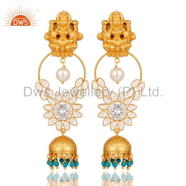 Turquoise Pearl and CZ 18K Gold Plated Sterling Silver Jhumki Temple Earring
