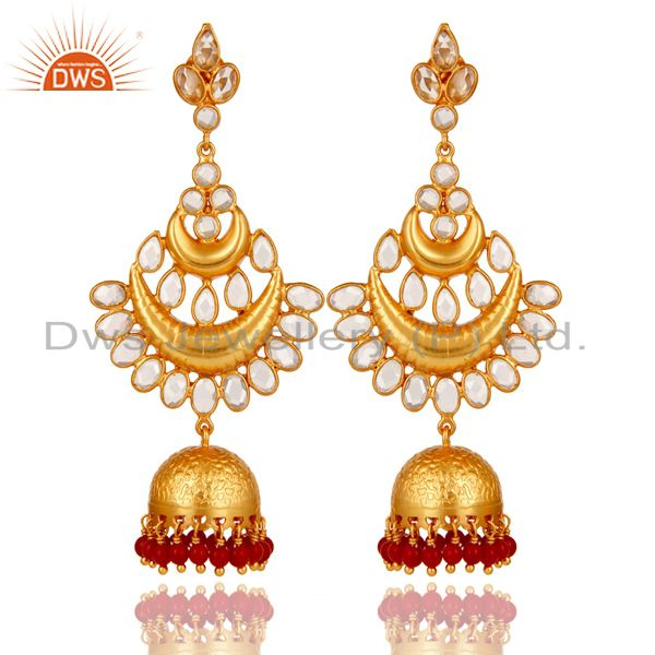 Coral and Zircon 18K Gold Plated Sterling Silver Jhumka Earring