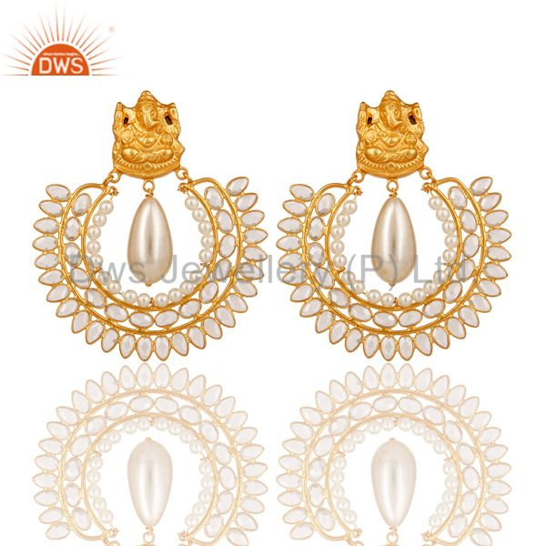 18K Gold Plated Sterling Silver Jhumki with Pearl and CZ Temple Earring