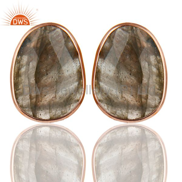 18K Rose Gold Plated 925 Sterling Silver Handmade Labradorite Studs Earrings