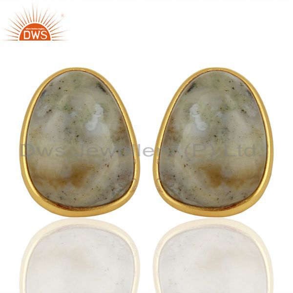 Gold Plated Ocean Jasper Gemstone 925 Silver Designer Earring Jewelry