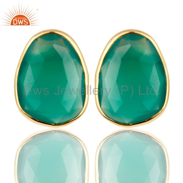 18k Yellow Gold Plated 925 Sterling Silver Checkered Green Onyx Studs Earrings