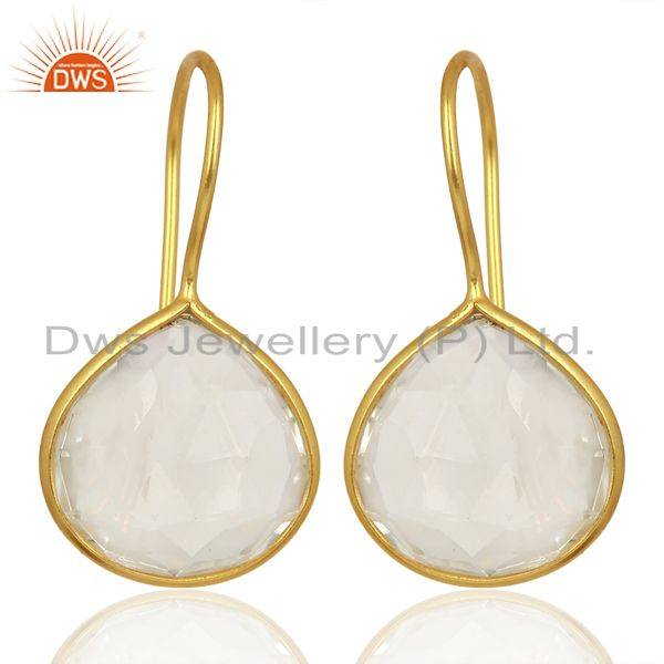 Crystal Heart Shape 92.5 Sterling Silver Gold Plated Drop Earring