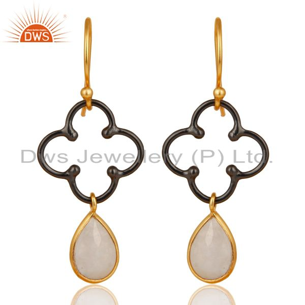 14K Gold Plated & Oxidized 925 Sterling Silver Artisan Rainbow Moonstone Earring