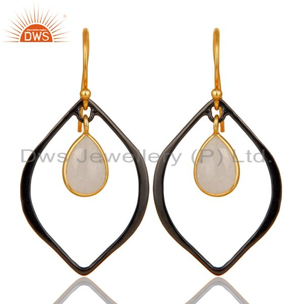 18K Gold Plated & Oxidized 925 Sterling Silver Rainbow Moonstone Drops Earrings