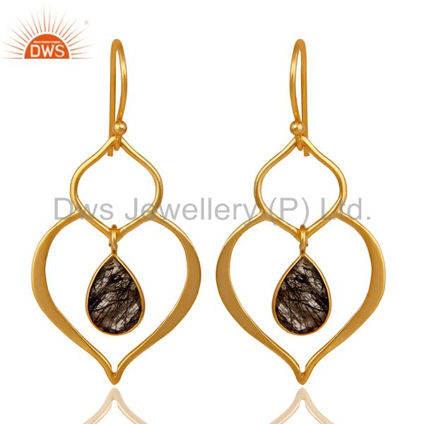 Art Deco Black Rutile 18K Gold Plated Sterling Silver Heart Shape Earring