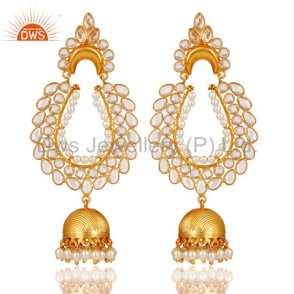 Pearl and Zircon 18K Gold Plated Sterling Silver Jhumka Earring