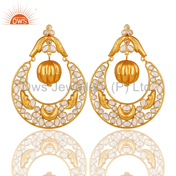 Zircon and 18K Gold Plated Sterling Silver Chand Bali Earring