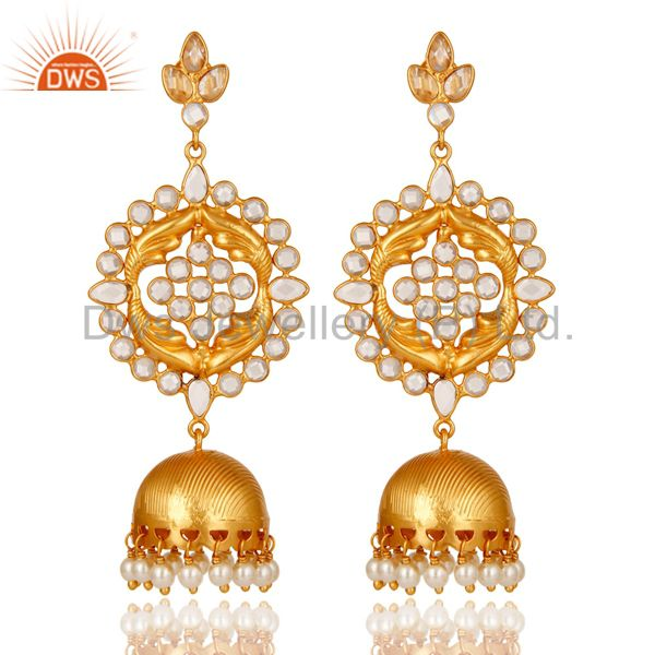 Zircon and 18K Gold Plated Sterling Silver Traditional Jhumka Earring