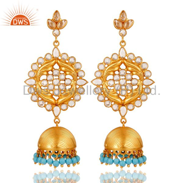 Turquoise Zircon and 18K Gold Plated Sterling Silver Traditional Jhumka Earring