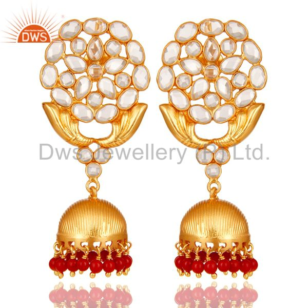 CZ and Coral 18K Gold Plated Sterling Silver Traditional Jhumka Earring