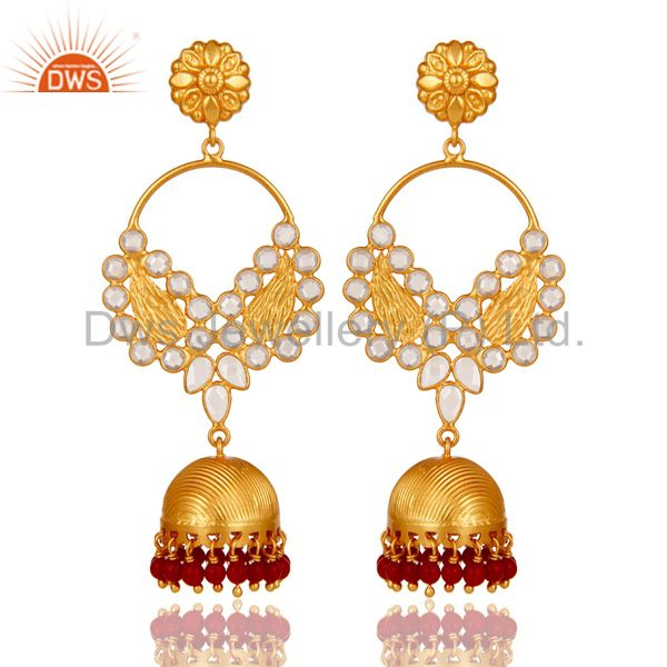 Coral Cultured and CZ 18K Gold Plated Sterling Silver Jhumka Traditional Earring