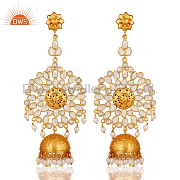Zircon and Pearl 18K Gold Plated Sterling Silver Traditional Jhumki Earring