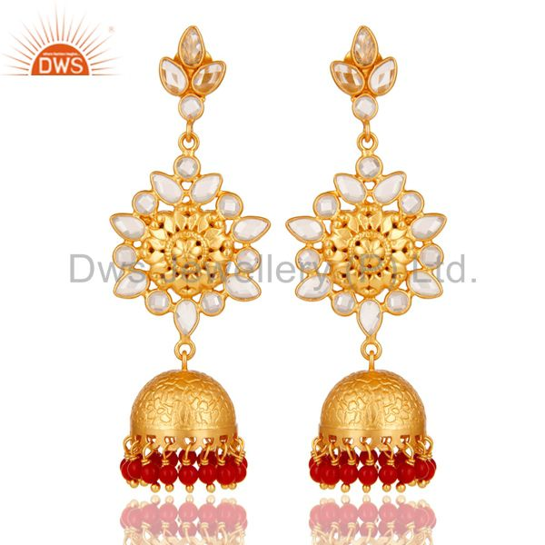 Coral and CZ Sterling Silver 18K Gold Plated Jhumka Earring