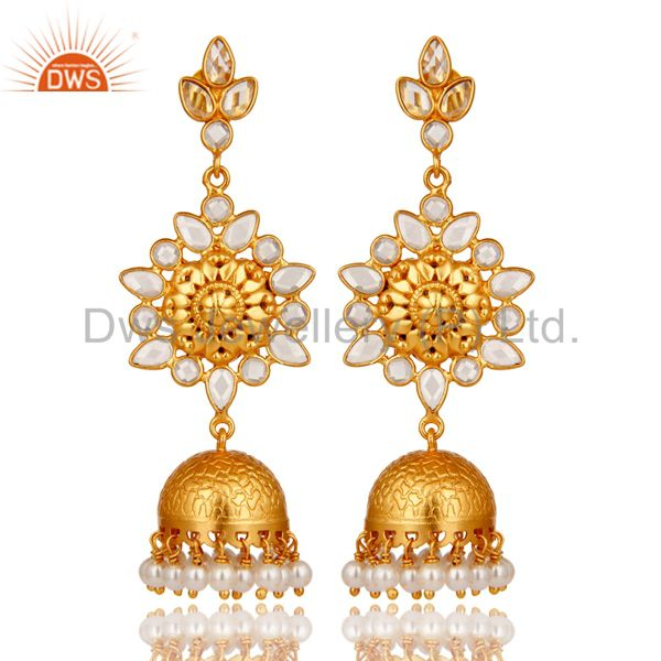 Pearl and CZ Sterling Silver 18K Gold Plated Jhumka Earring
