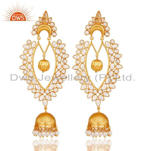 18K Gold Plated Sterling Silver Pearl and CZ Jhumka Traditional Earring