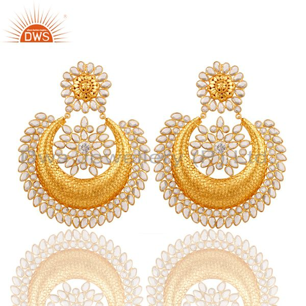 White Zircon 18K Gold Plated Sterling Silver Traditional Earring