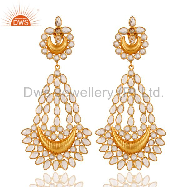 18K Gold PLated Sterling Silver White Zircon Jhumka Traditional Earring