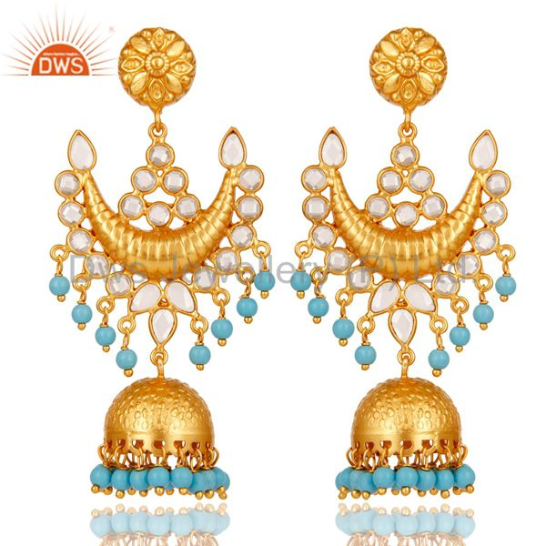 18K Gold Plated Turquoise and Zircon Sterling Silver Traditional Jhumka Earring