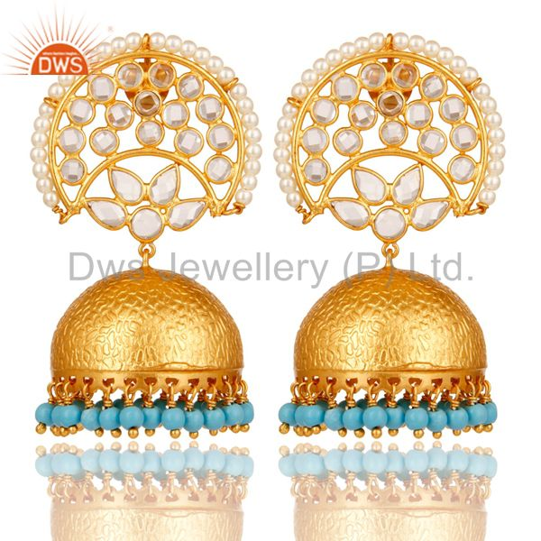 CZ and Turquoise Jhumka Earring 18K Gold Plated 925 Silver Earring