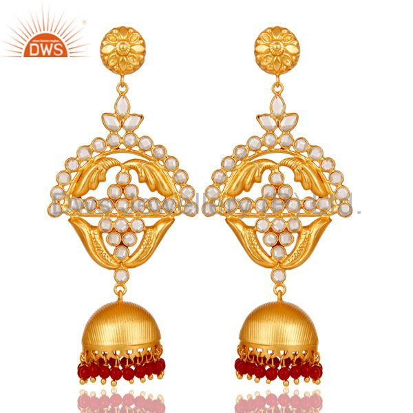 Coral and Zircon 18K Gold Plated Jhumka Traditional Earring