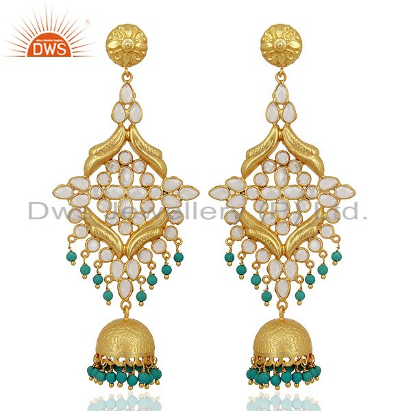 CZ and Turquoise Traditional Jhumka Earring 18K Gold Plated 925 Silver