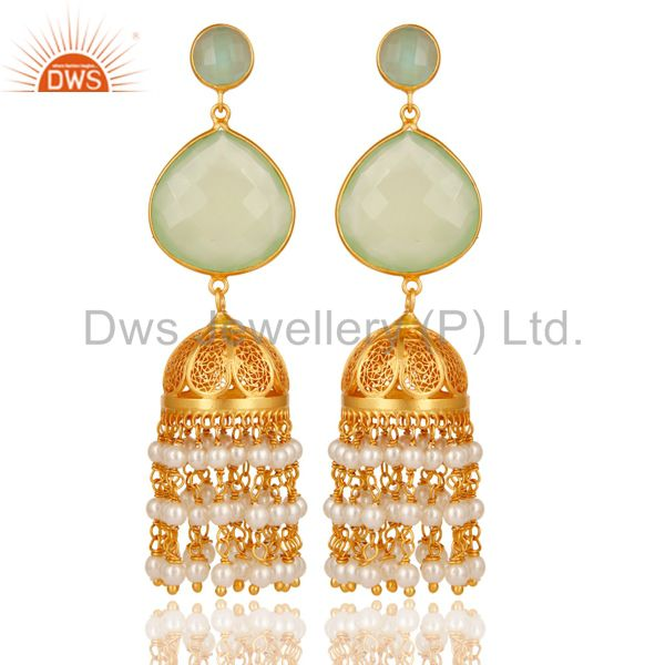 Aqua, Pearl & Chalcedony Jhumka Earring 18K Gold Plated 925 Sterling Silver